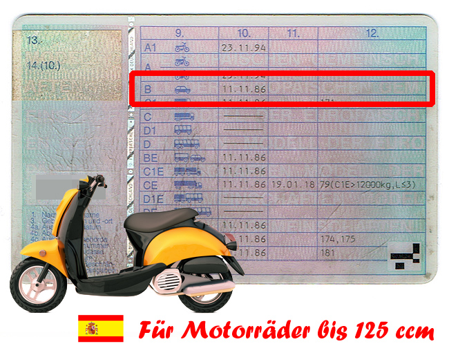 f hrerschein autof hrerschein f r 125er motorr der in spanien mycanaria. Black Bedroom Furniture Sets. Home Design Ideas